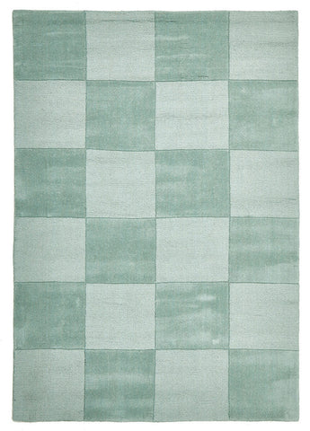 Wool Hand Loomed Rug - Box Seafoam