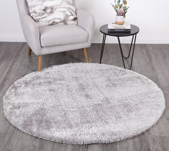 Puffy Soft Shag Round Rug Grey
