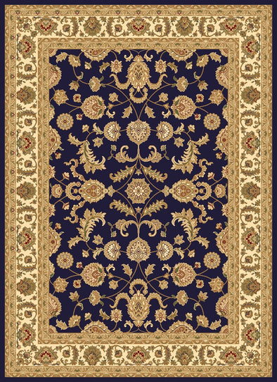Julian Navy Cream Bordered Oriental Rug