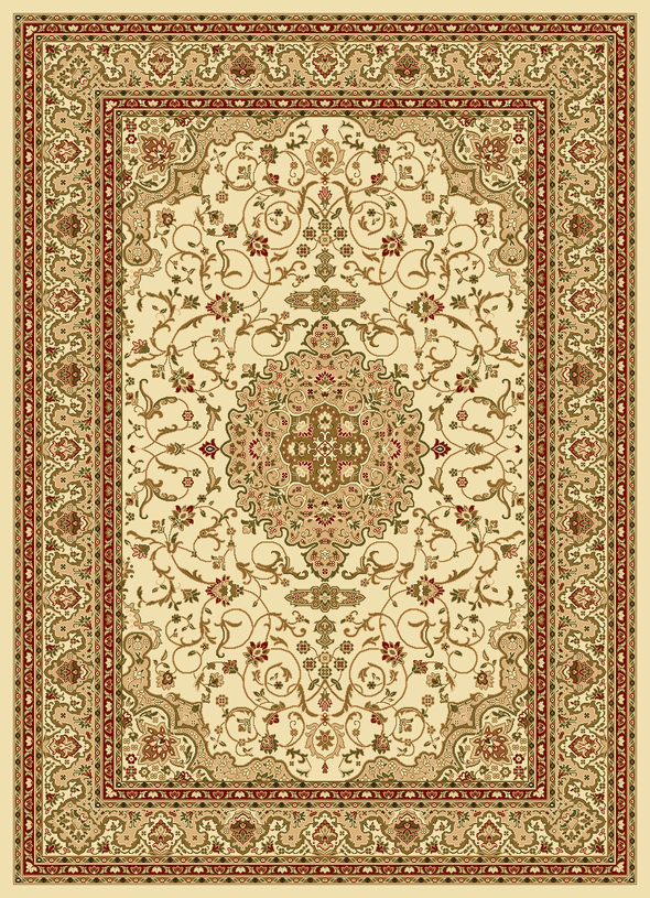 Julian Cream Red Bordered Medallion Oriental Rug