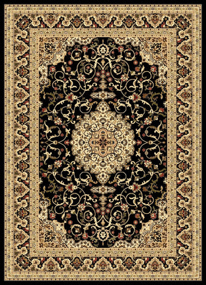 Julian Black Cream Bordered Medallion Oriental Rug