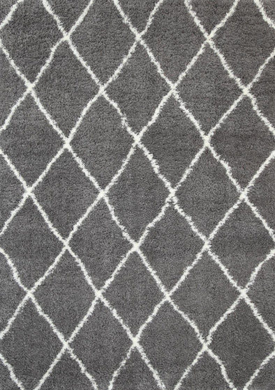 Moroccan Diamond Rug  Grey Cream