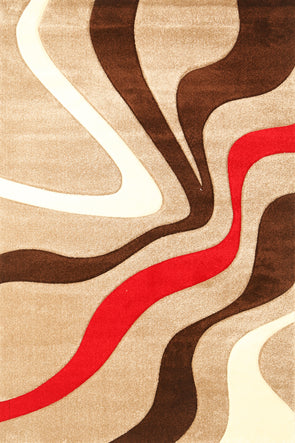 Diamond Beige Red Squiggle Rug