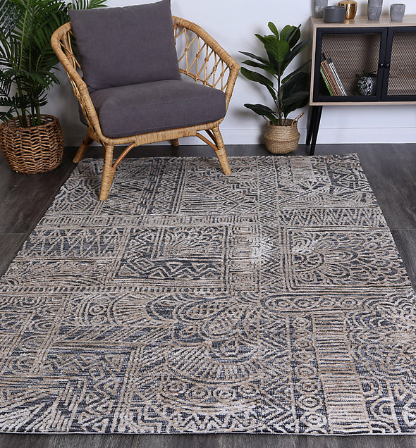 Alayah Anthacite Flower Rug