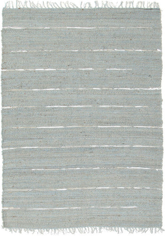 Saville Jute and Leather Rug Blue