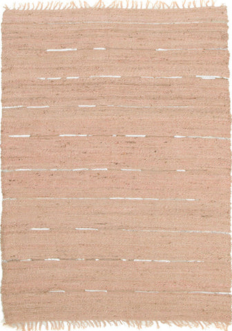 Saville Jute and Leather Rug Nude Pink