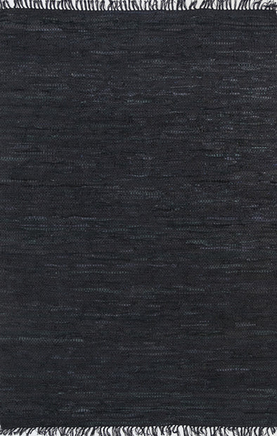 Metro Modern Black Leather Rug