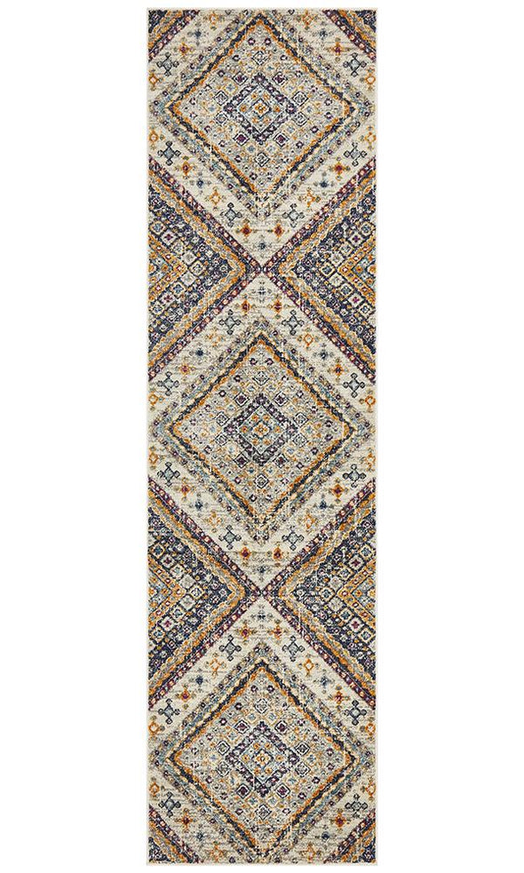 Babylon 203 White  Runner Rug