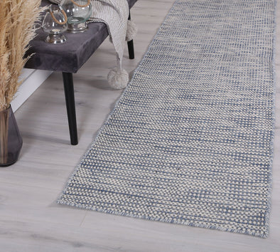 Scandi Blue Reversible Wool Runner Rug