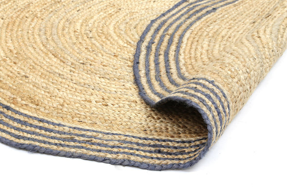 Capri Natural Round Grey Border Rug