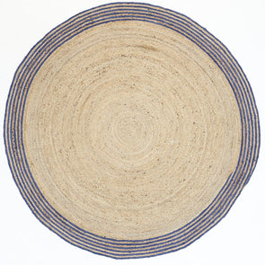 Capri Natural Round Navy Border Rug