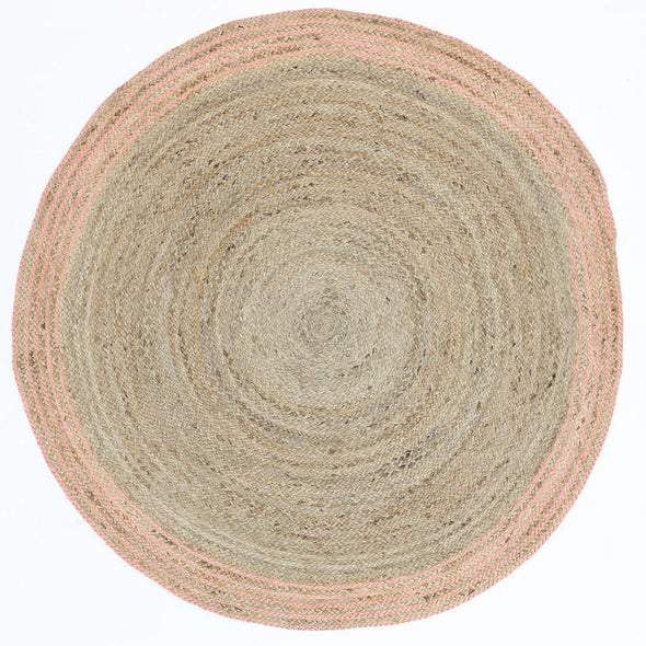 Capri Natural Round Pink Border Rug