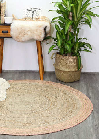 Capri Natural Round Pink Boarder Rug