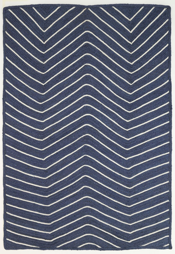 Artisan Natural Chevron Navy Rug