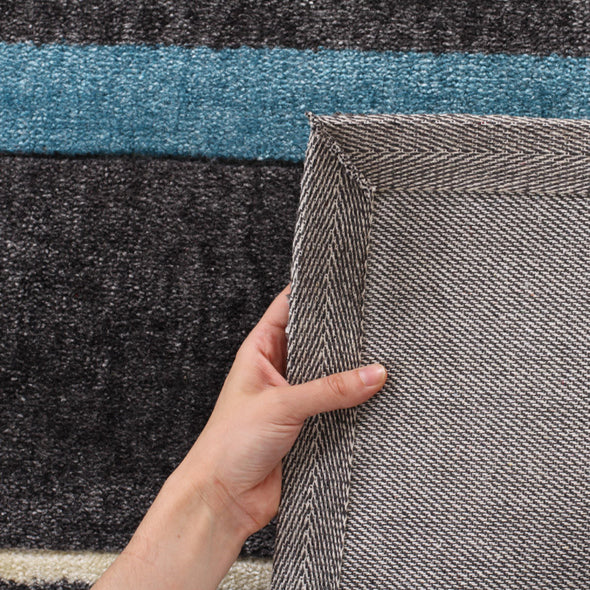 Stylish Stripe Rug Charcoal Blue