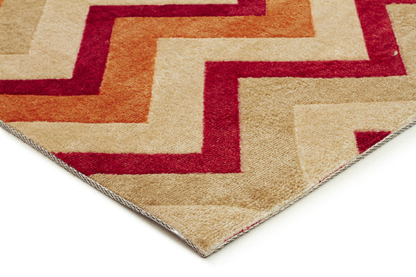 Stunning Chevron Design Rug Rust Red