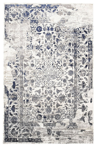 Tabriz Transitional Modern Rug White Navy Grey