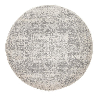 Dream White Silver Transitional Round Rug