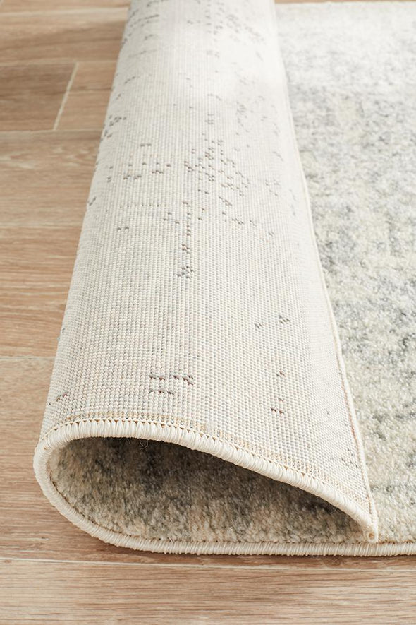 Evoke Dream White Silver Transitional Runner Rug