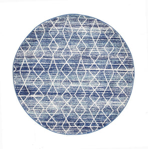 Evoke Culture Blue Transitional Round Rug