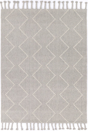 Kochi Diamond Tassel Grey Rug