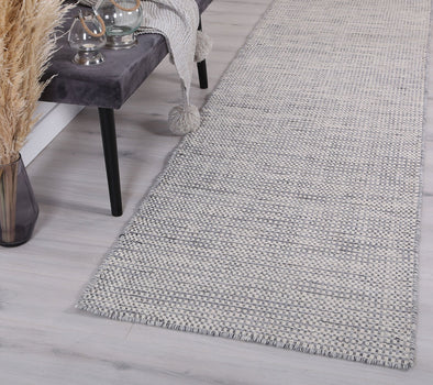 Scandi Grey Reversible Wool Runner Rug