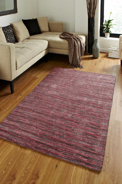 Harmony Pandora Contemporary Stripe Pink Grey Rug
