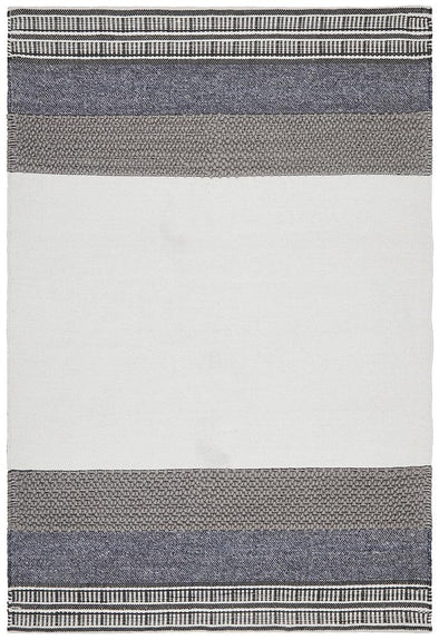 Esha Textured Woven Rug White Denim