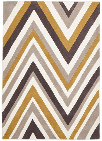 Multi Chevron Rug Yellow Brown