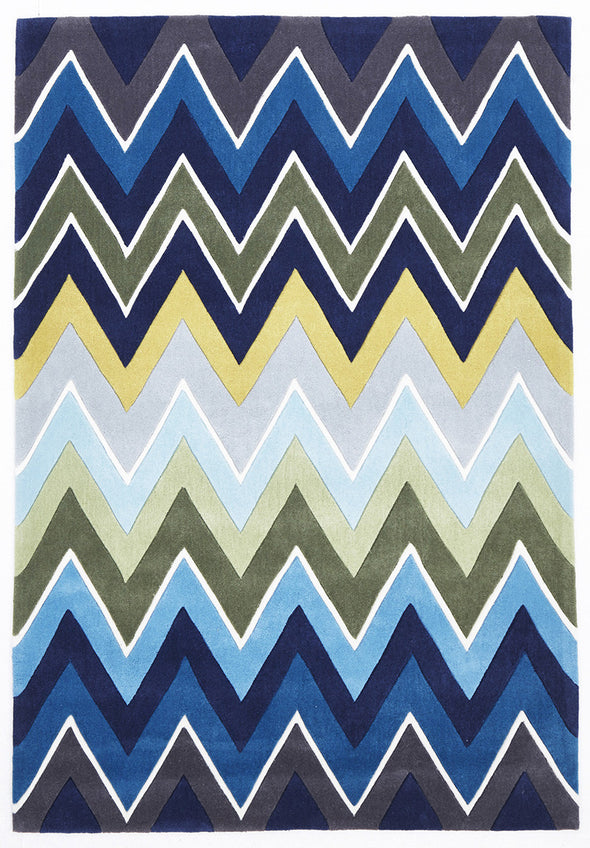 Eclectic Chevron Rug Navy Blue