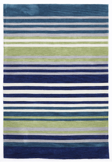 Modern Abrash Stripes Rug Blue Green