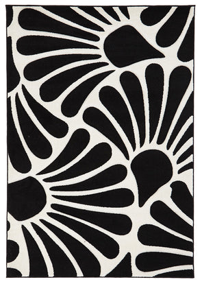 Damask Modern Fern Rug Black White