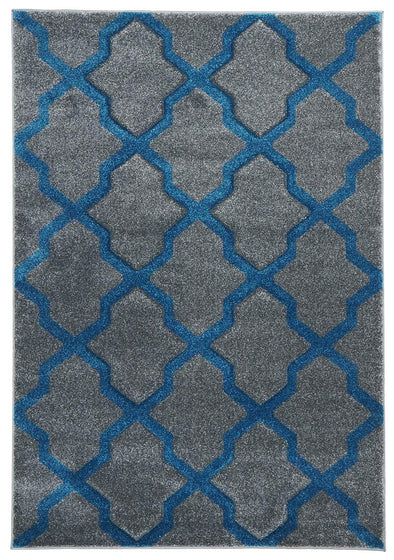 Cross Hatch Modern Rug Grey