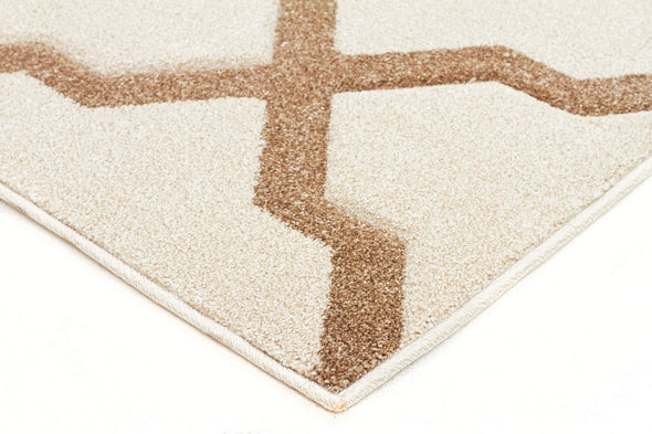 Icon Cross Hatch Modern Runner Rug Natural