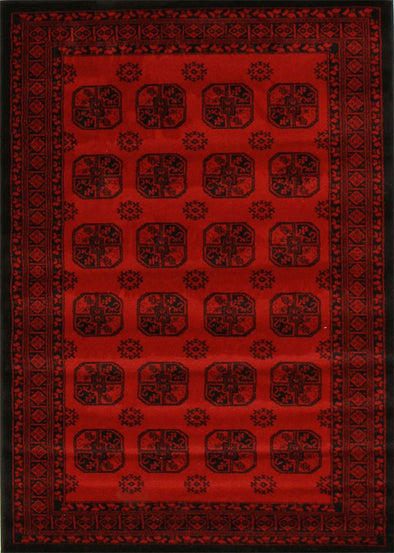 Classic Afghan Design Rug Red