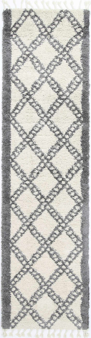 Kasbah Leta Diamond Cream Grey Runner Rug