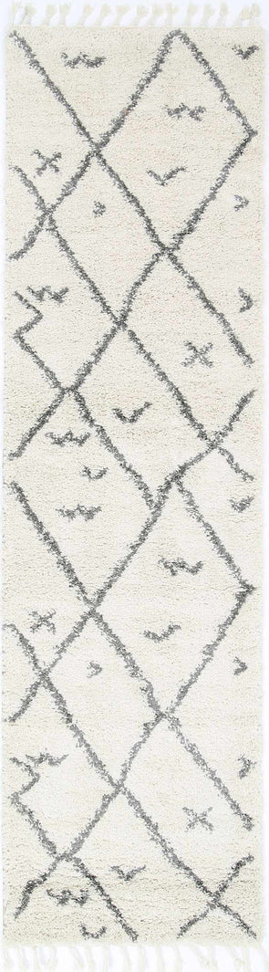 Kasbah Mizzie Tribal Cream Grey Runner  Rug