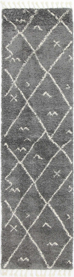 Kasbah Mizzie Tribal Grey Cream Runner  Rug