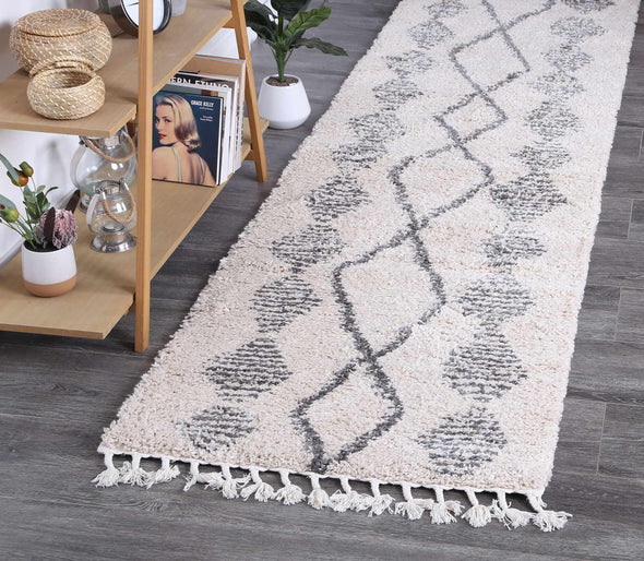 Kasbah Zara Tribal Cream Grey Runner  Rug