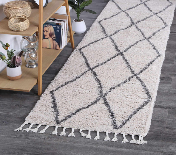 Kasbah Clara Diamond Tribal Cream Runner  Rug