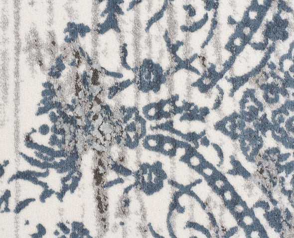 Yasmin Distressed Transitional Rug White Blue Grey