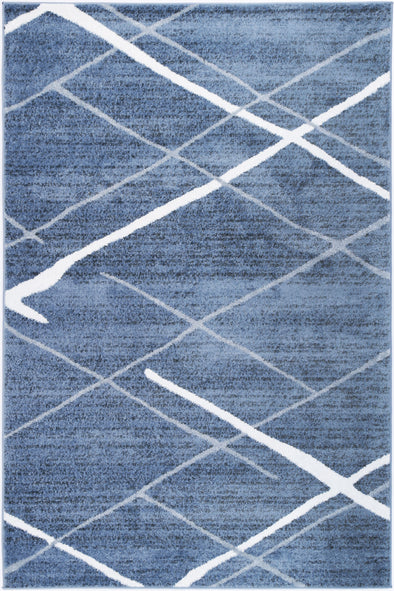 Paisley Abstract Stripe Blue Rug