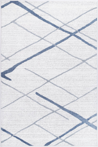 Paisley Abstract Stripe Light Blue Rug