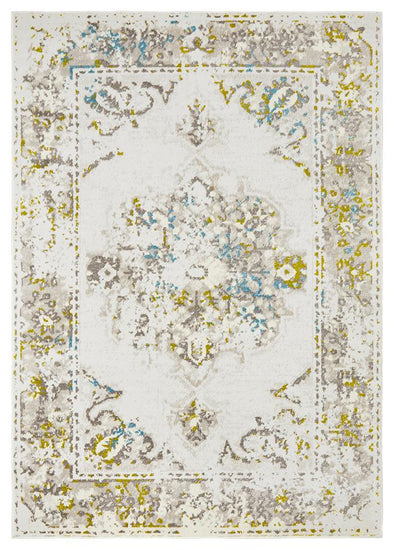 Alexa Transitional White Green Blue Rug