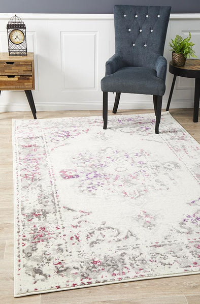 Alexa Transitional Rug White Pink Grey