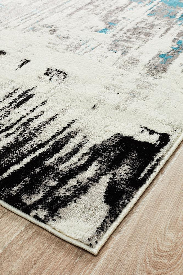 Lydia Abstract Rug Blue White Black Grey
