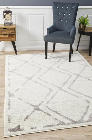 Kendall Contemporary Diamond Rug White Grey