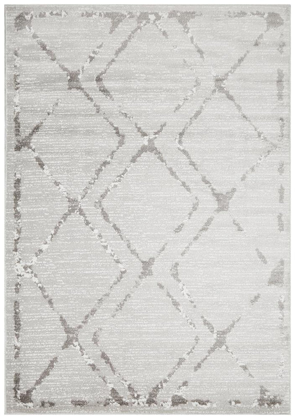 Kendall Contemporary Diamond Rug Silver Grey
