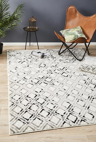 Jordyn Modern Rug White Black Grey