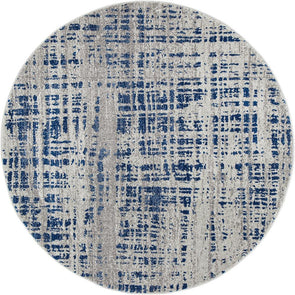 Ashley Abstract Modern Blue Grey Round Rug